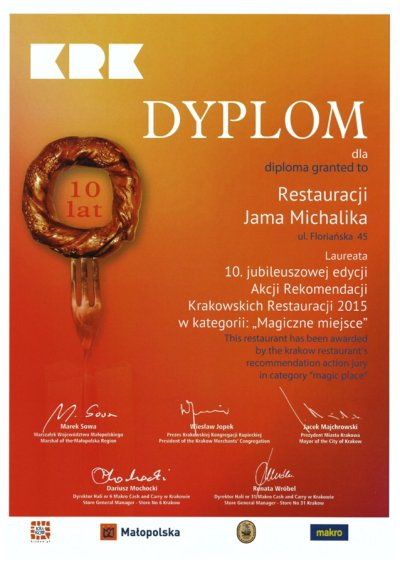 Restauracja Jama Michalika Kraków Dyplom